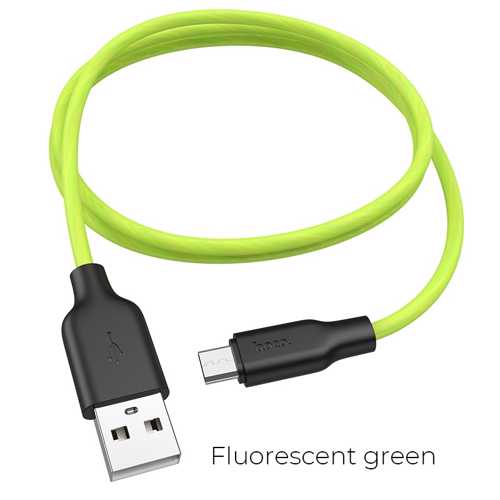 HOCO - X21 PLUS FLUORESCENT DATA CABLE microUSB 1m GREEN