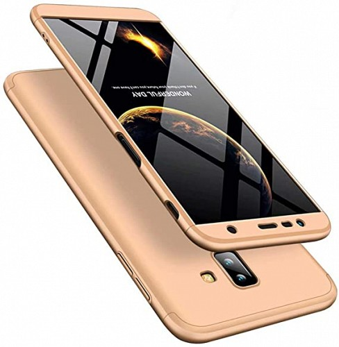360 Full Cover Case & TEMPERED Glass For SAMSUNG J6 Plus 18 Gold