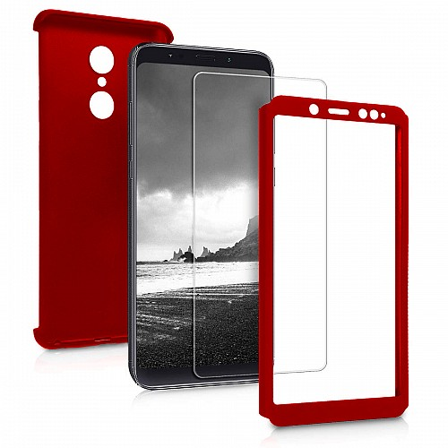 360 Full Cover Case & TEMPERED Glass For XIAOMI Redmi 5 Plus Red